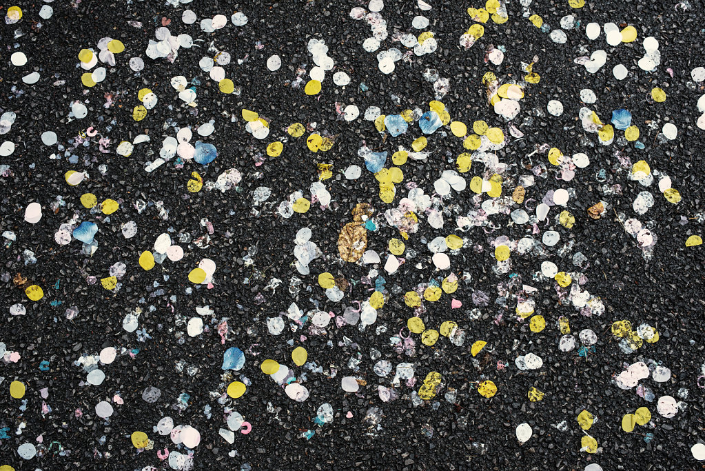 Confetti outside St. Josephs Church