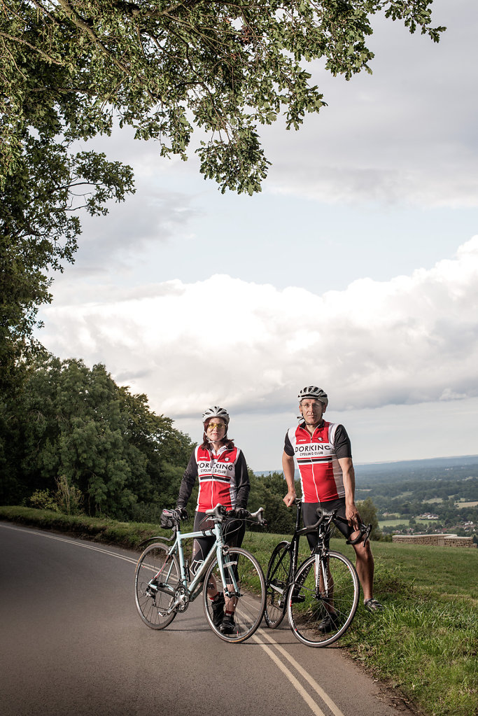 Melanie Aldridge & Gordon Friensd of Dorking Cycling Club photographed at Box Hill