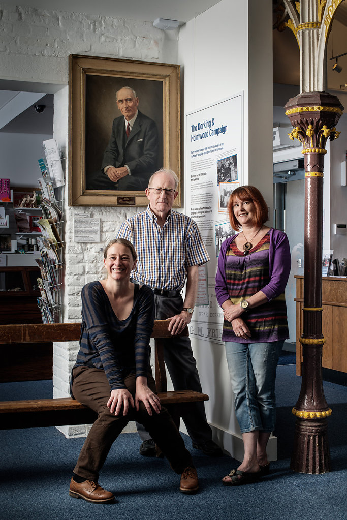 Erica Chambers, Peter Camp & Kathy Atherton photographed at Dorking Museum