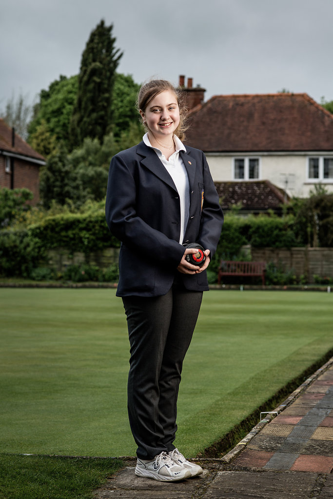 Ellysha Manuel photographed at Dorking Bowls Club