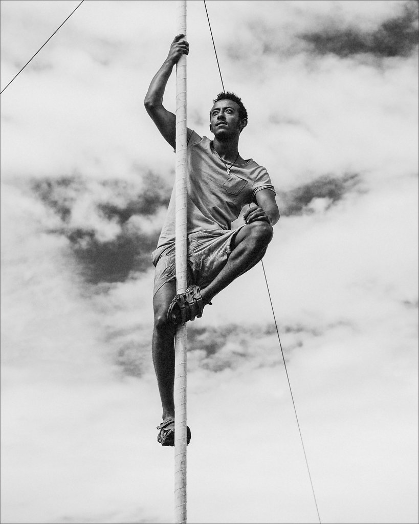 Ibrahim, member of the Konjowoch troupe of acrobats